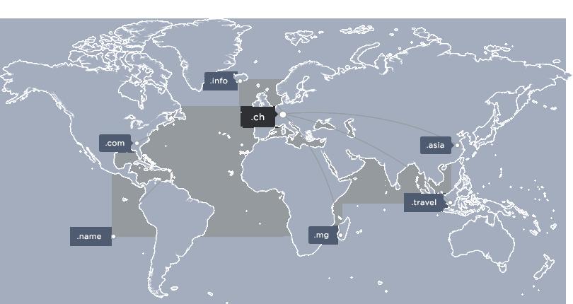 Weltkarte mit einigen TLDs
