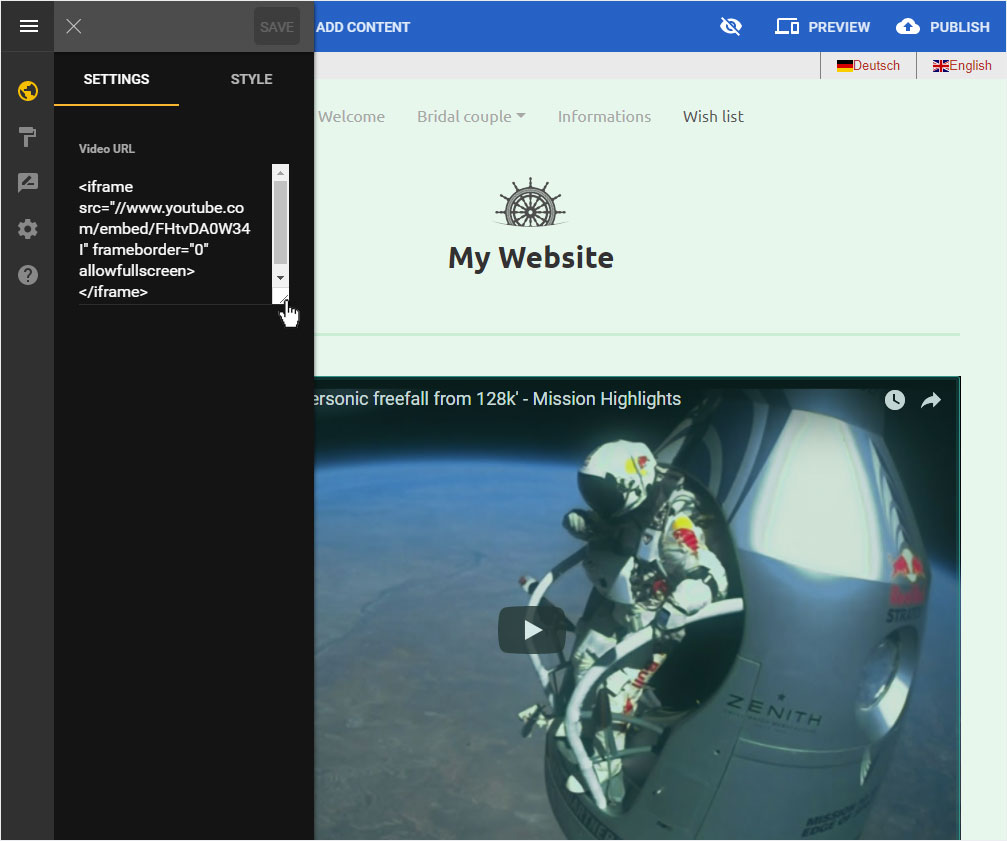 Support: Designer – Using – Embed video | Hoststar