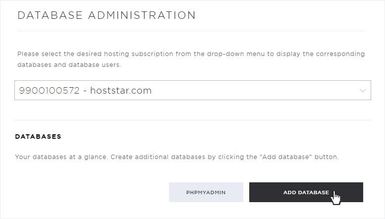 support  create mysql database  hosting