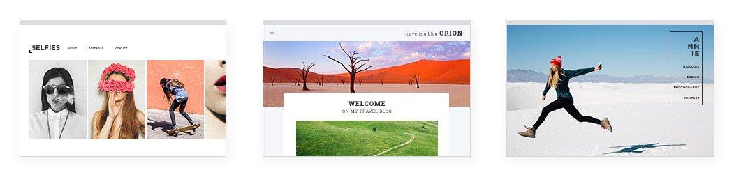 3 Websites mit verschiedenen Designs, erstellt mit dem Designer Homepage-Baukasten