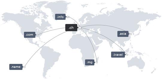 Weltkarte mit einigen Domainendungen