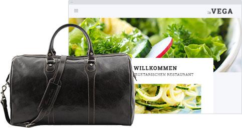 Reisetasche mit Website im Hintergrund