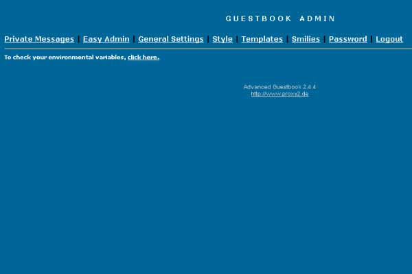 Advanced Guestbook: Administrationsbereich