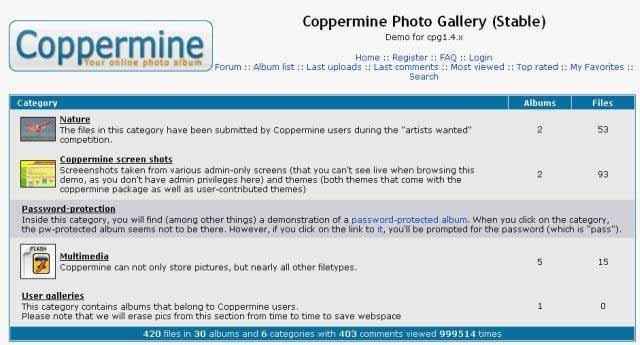 Coppermine: Beispielseite