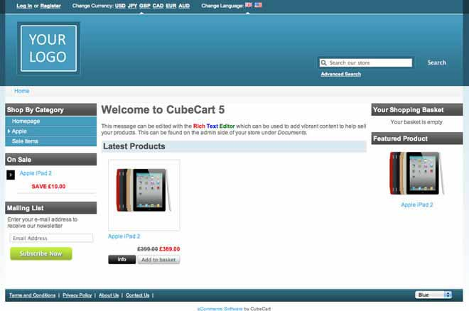 CubeCart: Beispielseite