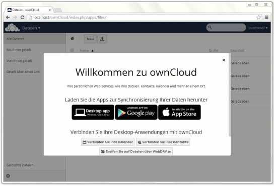 ownCloud: Downloadlinks zu den Apps