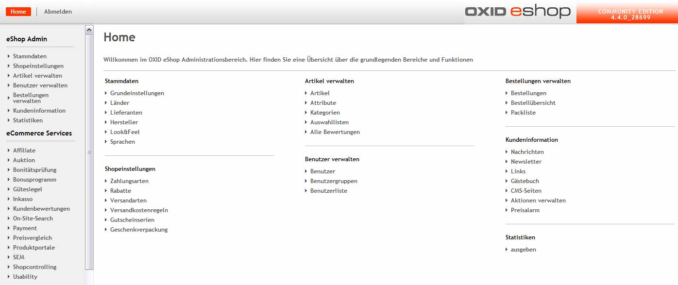OXID eShop Community: Administrationsbereich