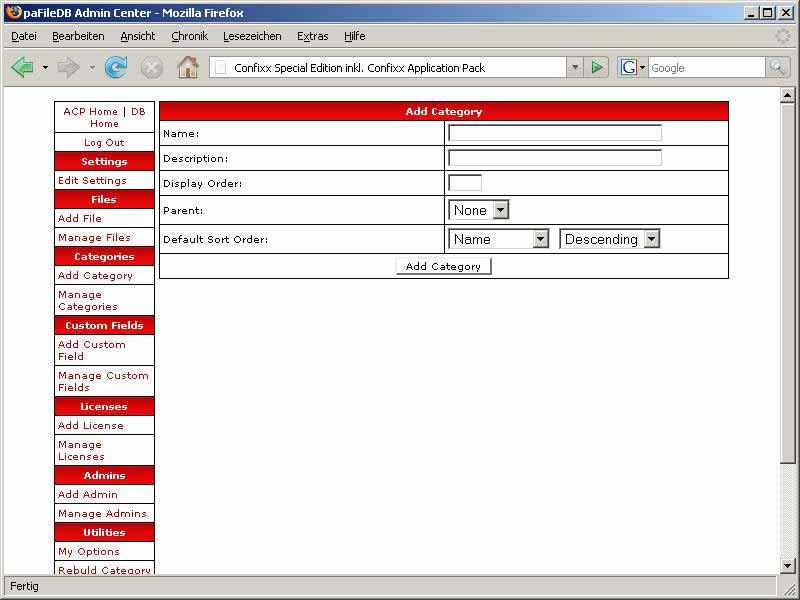 paFileDB: Kategorieverwaltung