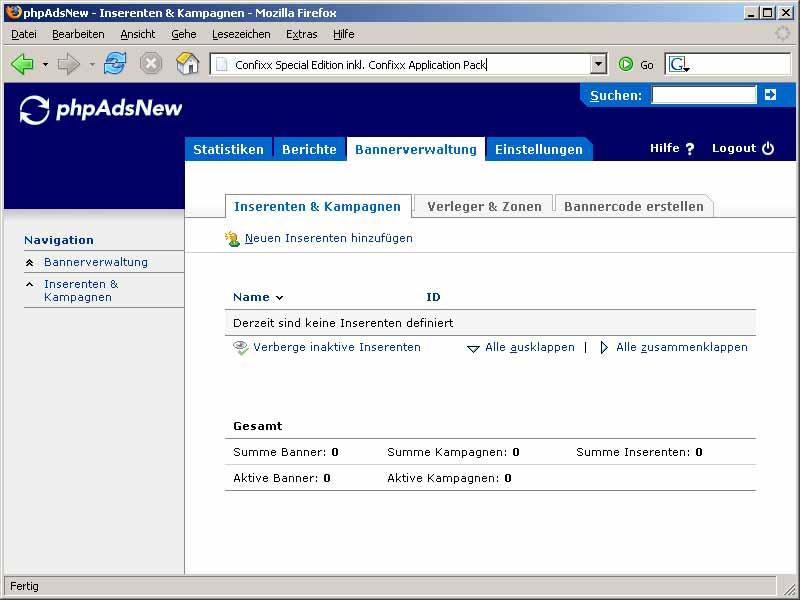 phpAdsNew: Bannerverwaltung