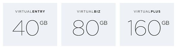 Verfügbarer Festplattenspeicher: VirtualEntry: 40 GB, VirtualBiz: 80 GB, VirtualPlus: 160 GB