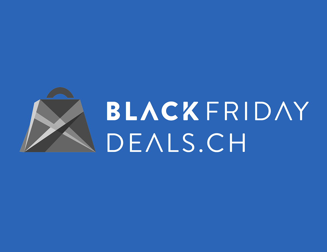 Logo von blackfridaydeals.ch, schwarzes Logo einer Einkaufstüte auf blauem Hintergrund