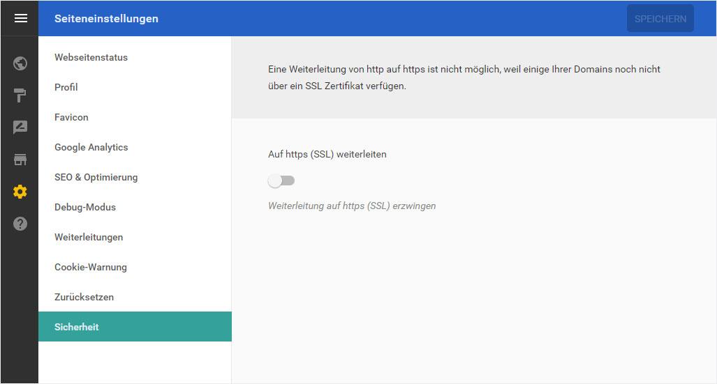 Support: Designer – Seiteneinstellungen – Sicherheit | Hoststar