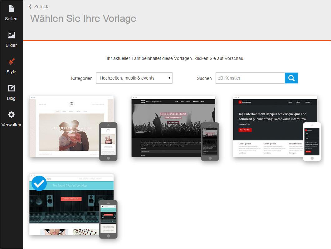 Support: Select design templates in Designer V1 | Hoststar