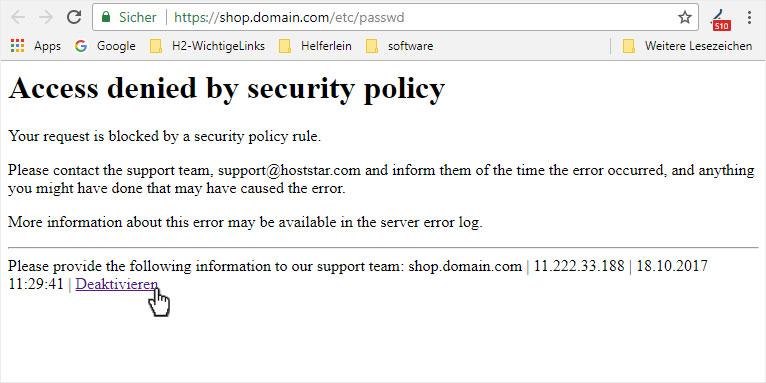 Support: Hosting – Security – ModSecurity | Hoststar