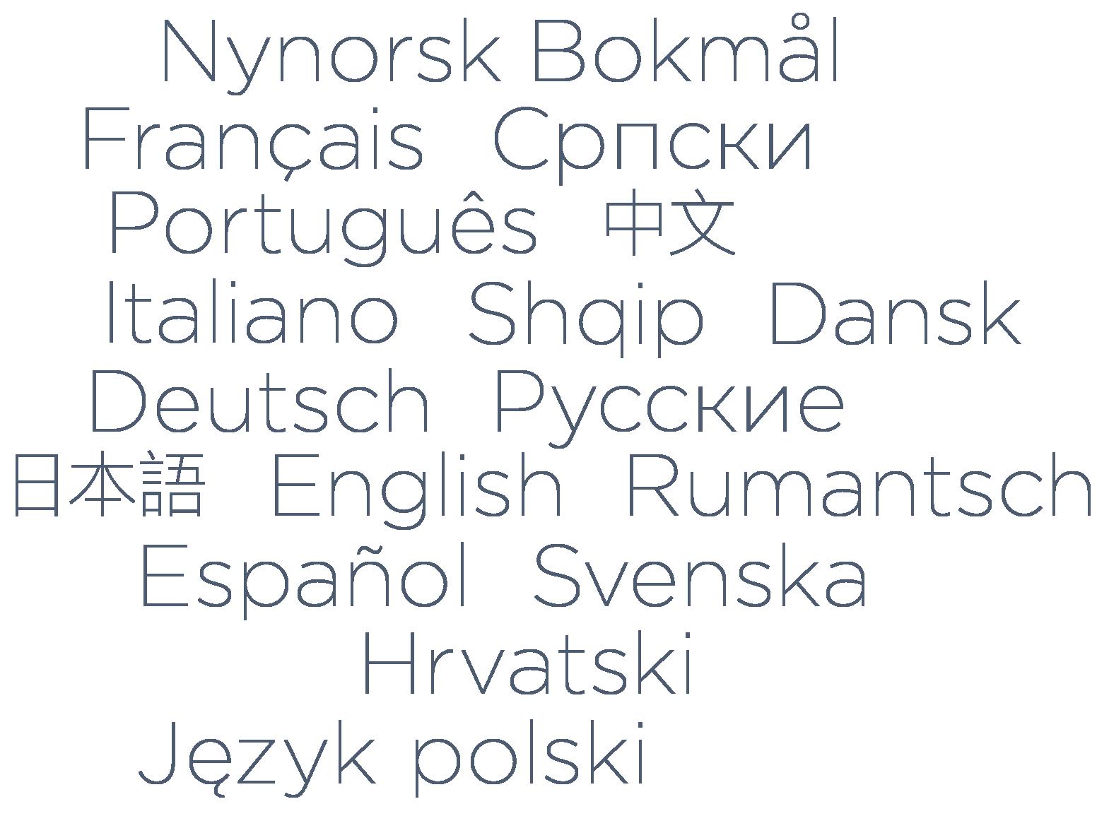 Sprachen, welche im Designer Homepage-Baukasten zur Erstellung einer mehrsprachigen Webseite verwendet werden können. Zum Beispiel Deutsch, English, Französisch, Italienisch und viele mehr.