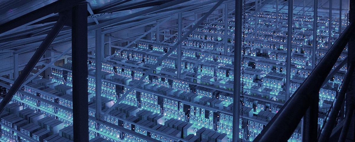 Blick von oben auf Serverfarm